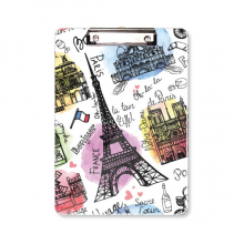 Building France Eiffel Tower Watercolor Clipboard Folder Writing Pad Backing Plate A4