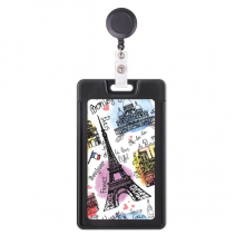 Building France Eiffel Tower Watercolor Retractable Badge Reel Card Sleeve Case