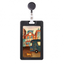 Miaoji Painting Watercolor Cat City Bus Retractable Badge Reel Card Sleeve Case