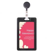 Pink White Happy Valentine's Day Retractable Badge Reel Card Sleeve Case