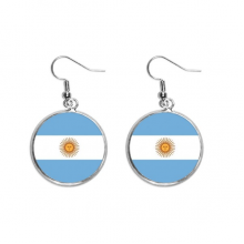 Argentina National Flag South America Country Ear Dangle Silver Drop Earring Jewelry Woman