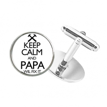 Keep Calm And Papa Wil Fix It Quote Round Button Cuff Clip Stud Cufflinks