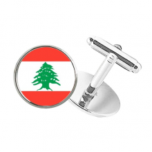 Lebanon National Flag Asia Country Round Button Cuff Clip Stud Cufflinks