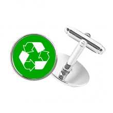 Recycle Green Square Warning Mark Round Button Cuff Clip Stud Cufflinks