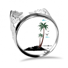 Coconut Tree Cloud Seagulls Beach Ring Adjustable Love Wedding Engagement