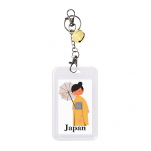 Traditional Japanese Women Dress Code Badge Credit Card Protecter Sleeve Yellow Bell