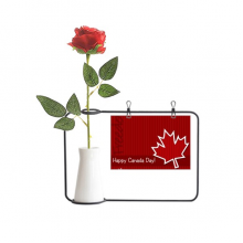 Canada Flavor Happy Canada Day Artificial Rose Flower Hanging Vases Decoration Bottle