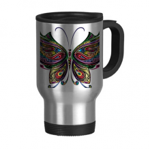 Beautiful Butterfly Colorful Decorative Wings Travel Mug Flip Lid Stainless Steel Cup Car Tumbler Thermos