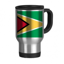 Guyana National Flag South America Country Travel Mug Flip Lid Stainless Steel Cup Car Tumbler Thermos