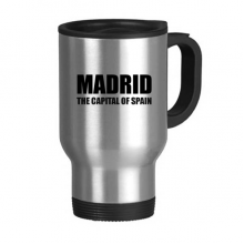 Madrid The Capital Of Spain Travel Mug Flip Lid Stainless Steel Cup Car Tumbler Thermos