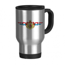 Luxembourg Flag National Emblem Travel Mug Flip Lid Stainless Steel Cup Car Tumbler Thermos