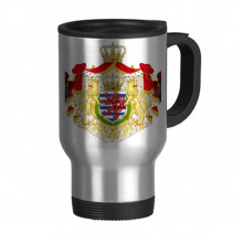 Luxembourg National Emblem Country Symbol Travel Mug Flip Lid Stainless Steel Cup Car Tumbler Thermos