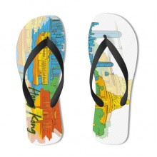 Hong Kong Illustration Flip Flops