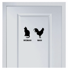 Cat and cock marks for man and woman's toilet sticker